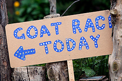 London 06/04/2014<br /> Sign for the Goat Race at Spitalfields City Farm that coincides with the Oxford Cambridge Boat Race. <br /> Photo: Anna Branthwaite/LNP