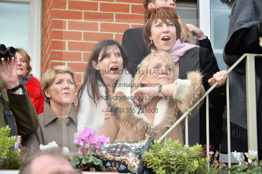 Left to right, CLARE BALDING, RONNI ANCONA, LOUISE FENNELL and KATHY LETTE at the 2015 Hennessy Gold Cup held at Newbury Racecourse, Berkshire on 28th November 2015.