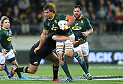 Eben Etzebeth of South Africa during the Rugby Championship match between the New Zealand All Blacks & South Africa at Westpac Stadium, Wellington on Saturday 27th July 2019. Copyright Photo: Grant Down / www.Photosport.nz