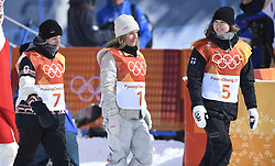 February 12, 2018 - Pyeongchang, South Korea - Left to right, LAURIE BLOUIN of Canada, JAMIE ANDERSON of the United States and ENNI RUKAJARVI walk together to the awards ceremony at the Womens Snowboard Slopestyle finals at Phoenix Snow Park at the Pyeongchang Winter Olympic Games. Anderson took the gold, Blouin the silver and Rukajarvi bronze.  Photo by Mark Reis, ZUMA Press/The Gazette (Credit Image: © Mark Reis via ZUMA Wire)