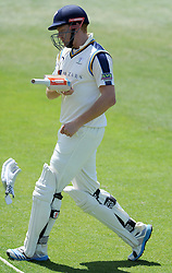 Yorkshire's Jonny Bairstow hits away his glove after being dismissed. Photo mandatory by-line: Harry Trump/JMP - Mobile: 07966 386802 - 27/05/15 - SPORT - CRICKET - LVCC County Championship - Division 1 - Day 4 - Somerset v Yorkshire - The County Ground, Taunton, England.