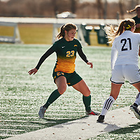 2nd year defender, Kyra Vibert (23) of the Regina Cougars during the Women's Soccer home game on Sun Oct 14 at U of R Field. Credit: Arthur Ward/Arthur Images