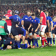 Vincent Clerc, France, lies on the floor as Sam Warburton, Wales, (centre, right) is sent off for his tackle during the Wales V France Semi Final match at the IRB Rugby World Cup tournament, Eden Park, Auckland, New Zealand, 15th October 2011. Photo Tim Clayton...