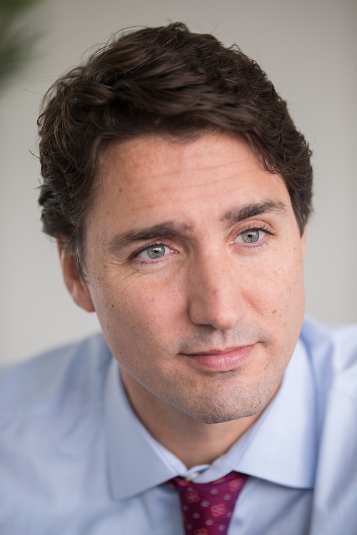 Liberal leader Justin Trudeau sits for an interview during a campaign stop in London, Ontario October 7 2015. <br /> GEOFF ROBINS/ Postmedia