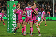 Gloucester fly half Owen Williams (12) celebrates his try 45 -9 with team mates during the European Rugby Challenge Cup match between Gloucester Rugby and SU Agen at the Kingsholm Stadium, Gloucester, United Kingdom on 19 October 2017. Photo by Gary Learmonth.