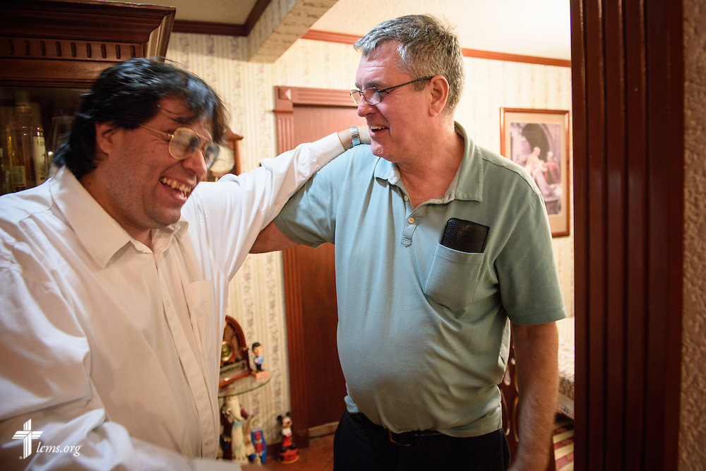 The Rev. Daniel Conrad,  LCMS missionary to Mexico, hugs Alejandro Arevalo following a visitation with his family at their home in Mexico City on Friday, Feb. 12, 2016.  LCMS Communications/Erik M. Lunsford