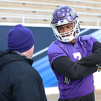 SALEM, VA - DECEMBER 14: University of Mount Union defensive lineman Michael Vidal talks with staff during Stagg Bowl practice at Salem Stadium on December 14, 2017 in Salem,VA. (Photo by Steve Frommell, d3photography.com)