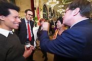 Vienna, Austria. Cocktail reception hosted by Mayor Michael Häupl at City Hall for international scientists and researchers living and working in Vienna.<br /> Prof. Dr. Helga Nowotny, Vienna Science and Technology Fund (WWTF), President of the European Research Council (ERC); Mag. Robert Kogler (red tie).