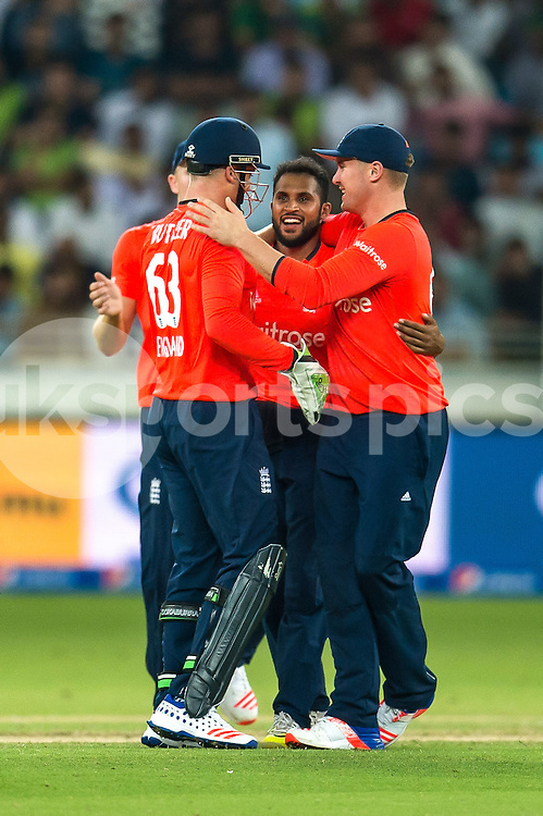 Adil Rashid of England is congratulated on the wicket of Rafatullah Mohmand of Pakistan during the 2nd International T20 Series match between Pakistan and England at Dubai International Cricket Stadium, Dubai, UAE on 27 November 2015. Photo by Grant Winter.