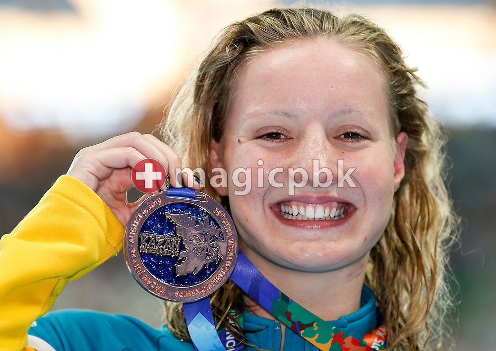 Jessica Ashwood of Australia poses with his Bronze medal after finishing third in the women's 400m Freestyle Final during the 16th FINA World Swimming Championships held at the Kazan arena in Kazan, Russia, Sunday, Aug. 2, 2015. (Photo by Patrick B. Kraemer / MAGICPBK)