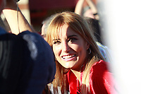 The Spanish model and former girlfriend of tennis player Feliciano Lopez, Alba Carrillo, awaits the arrival of the players of the Spanish national football team to the stage. October 2,2017.(ALTERPHOTOS/Acero)