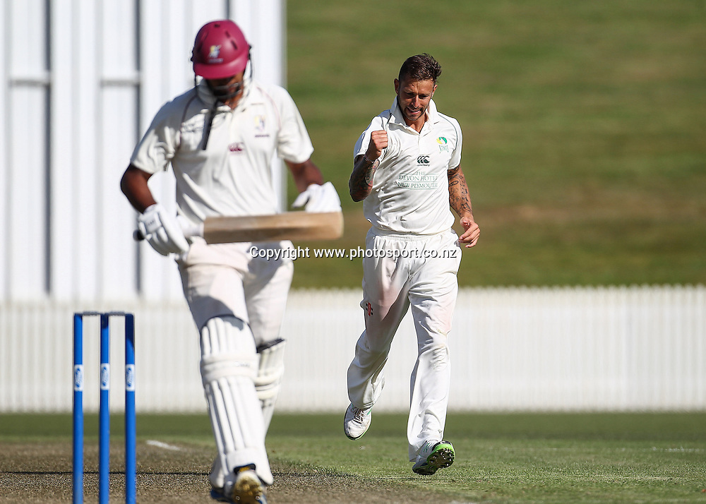 Central Stag's Peter Trego celebrates the wicket of Northern Knight's Ish Sodhi during the Plunket Shield Cricket match, Northern Districts v Central Districts at Seddon Park, Hamilton. Tuesday 26 November 2013. Photo: Bruce Lim / photosport.co.nz