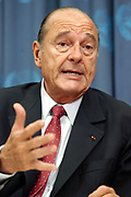 New York, NY,USA, 20030923; French President Jacques Chirac of France addresses the media after his meeting with United States President George W. Bush at the United Nations Headquarters in New York. President Chirac stated that there is still a difference of opinion between the United States and France over the future of Iraq. Photo: Orjan F. Ellingvag/ Dagbladet/ Corbis