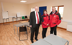 Pictured is, from left, Clydesdale Bank commercial relationship manager Michael Pickles and Rand Farm Park owners Kay and Richard Waring. They are in the new building for college students.<br /> <br /> Clydesdale Bank - Rand Farm Park<br /> <br /> March 27, 2015
