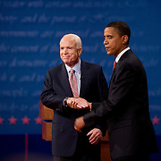 Republican presidential nominee Sen. John McCain and Democratic presidential nominee Sen. Barack Obama take part in their first presidential debate at the University of Mississippi in Oxford, MS Friday, September 26, 2008.  ..Photo by Khue Bui