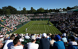 A general view of Gael Monfils against Richard Gasquet on Court two on day One of the Wimbledon Championships at the All England Lawn Tennis and Croquet Club, Wimbledon. PRESS ASSOCIATION Photo. Picture date: Monday July 2, 2018. See PA story TENNIS Wimbledon. Photo credit should read: Jonathan Brady/PA Wire. RESTRICTIONS: Editorial use only. No commercial use without prior written consent of the AELTC. Still image use only - no moving images to emulate broadcast. No superimposing or removal of sponsor/ad logos. Call +44 (0)1158 447447 for further information.