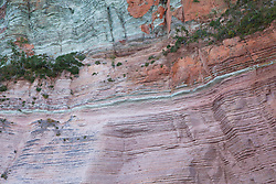 Striking colours in a rock face on the Traverse Islands on the Kimberley coast.