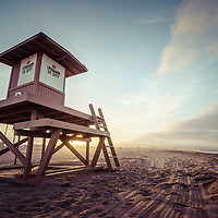 Lifeguard Tower B sunrise photo in Newport Beach California on Balboa Peninsula. Newport Beach is a popular coastal city along the Pacific Ocean in Southern California. Photo is high resolution. Copyright ⓒ 2017 Paul Velgos with All Rights Reserved.