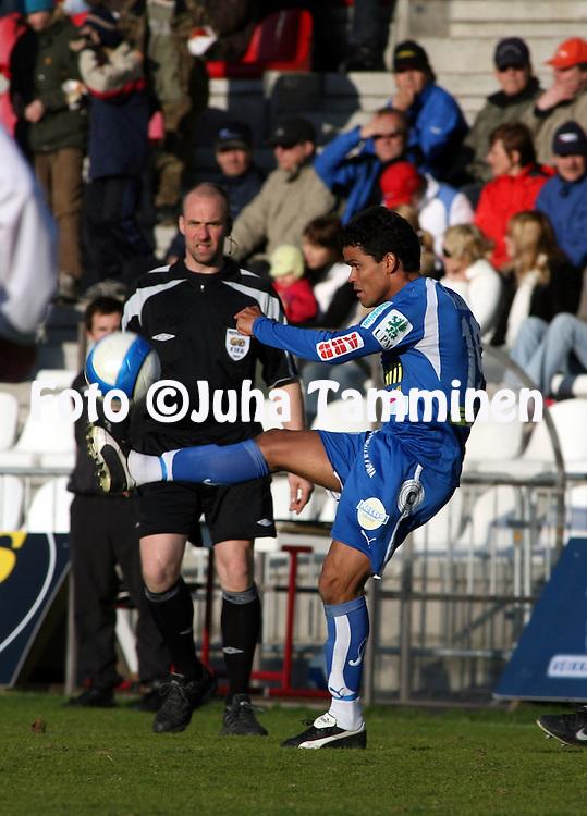 """10.05.2007, Anjalankoski, Finland..Veikkausliiga 2007 - Finnish League 2007.Myllykosken Pallo-47 - FF Jaro.Marcelo Gonalves de Oliveira """"Piracaia"""" - Jaro.©Juha Tamminen.....ARK:k"""