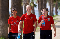 LARNACA, CYPRUS - Tuesday, March 6, 2018: Wales' Amina Vine, Elise Hughes and Alice Griffiths during a team walk around the Palm Beach Hotel & Bungalows in Larnaca on day eight of the Cyprus Cup tournament. (Pic by David Rawcliffe/Propaganda)