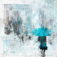 Sketch of a person with a blue umbrella against city elements on a light blue watercolor background