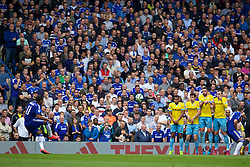 LONDON, ENGLAND - Sunday, May 3, 2015: Chelsea's Didier Drogba takes a free-kick against Crystal Palace during the Premier League match at Stamford Bridge. (Pic by David Rawcliffe/Propaganda)