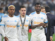 Marseille players disappointed during the Europa League Final match between Olympique de Marseille and Atletico Madrid at Orange Velodrome, Marseille, France on 16 May 2018. Picture by Ahmad Morra.