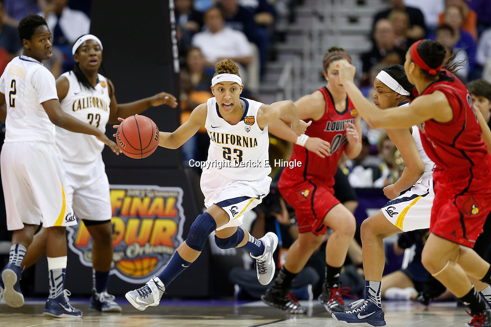 April 7, 2013; New Orleans, LA, USA; California Golden Bears guard Layshia Clarendon (23) dribbles against the Louisville Cardinals during the first half in the semifinals during the 2013 NCAA womens Final Four at the New Orleans Arena. Mandatory Credit: Derick E. Hingle-USA TODAY Sports