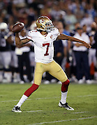 San Francisco 49ers quarterback Colin Kaepernick (7) throws a pass during the 2016 NFL preseason football game against the San Diego Chargers on Thursday, Sept. 1, 2016 in San Diego. The 49ers won the game 31-21. (©Paul Anthony Spinelli)