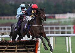 City Island ridden by Mark Walsh clears the last on the way to winning the Thorntons Recycling Maiden Hurdle on day one of the Leopardstown Christmas Festival at Leopardstown Racecourse.