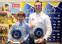 Best MTB Rider Tanja Zakelj and Uros Murn of best cycling team Adria Mobil during the Slovenia's Cyclist of the year award ceremony by Slovenian Cycling Federation KZS, on December 11, 2010 in Hotel Mons, Ljubljana, Slovenia. (Photo By Vid Ponikvar / Sportida.com)