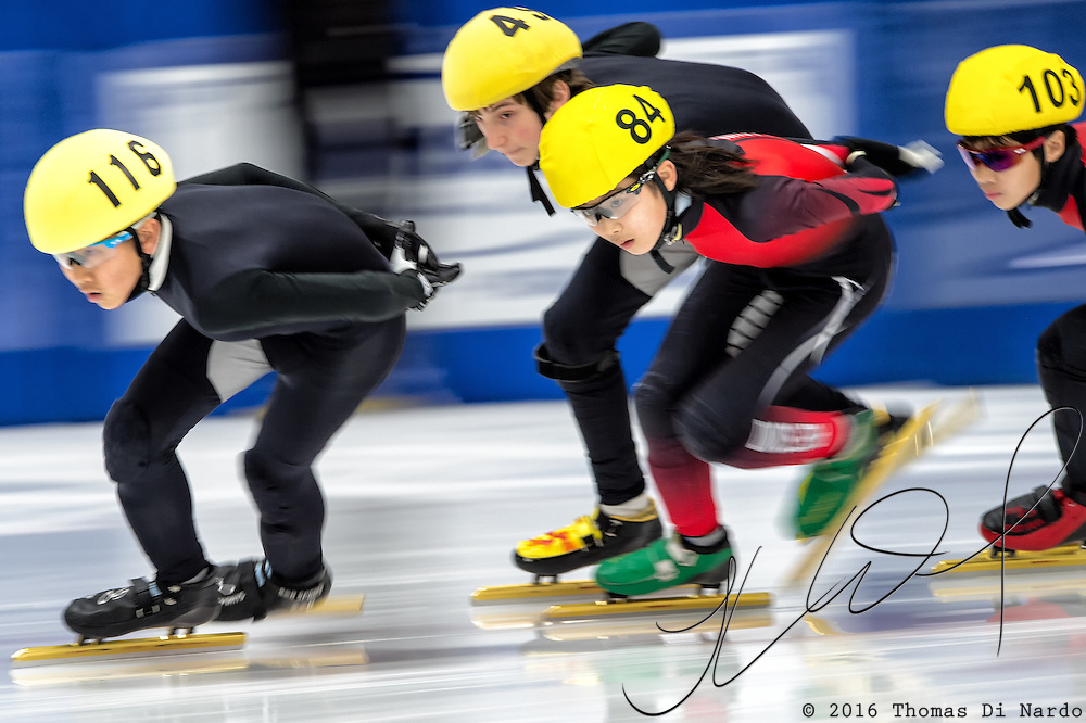 March 20, 2016 - Verona, WI - Darin Shim, skater number 84 competes in US Speedskating Short Track Age Group Nationals and AmCup Final held at the Verona Ice Arena.