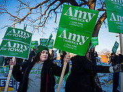14 JANUARY 2020 - DES MOINES, IOWA: Amy Klobuchar supporters rally before the CNN Democratic Presidential Debate on the campus of Drake University in Des Moines. This is the last debate before the Iowa Caucuses on Feb. 3.    PHOTO BY JACK KURTZ