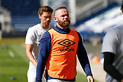 Derby County FC Captain Wayne Rooney (32) warming up before the EFL Sky Bet Championship match between Preston North End and Derby County at Deepdale, Preston, England on 1 July 2020.
