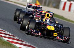 Motorsports / Formula 1: World Championship 2011, Testing in Barcelona, test, 02 Mark Webber (AUS, Red Bull Racing),   18 Sebastien Buemi (SUI, Scuderia Toro Rosso),