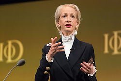 © Licensed to London News Pictures. 06/10/2015. London, UK. Chairman of the IoD, LADY BARBARA JUDGE speaks at the Institute of Directors (IoD) Annual Convention 2015, held at the Royal Albert Hall in London. Photo credit : Vickie Flores/LNP