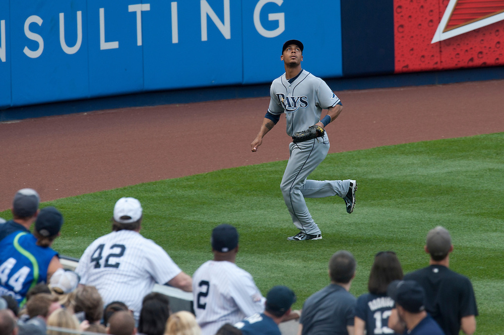 NEW YORK - AUGUST 13: Desmond Jennings #8 of the Tampa Bay Rays defends his position during the game against the New York Yankees at Yankee Stadium on August 13, 2011 in the Bronx borough of Manhattan. (Photo by Rob Tringali) *** Local Caption *** Desmond Jennings