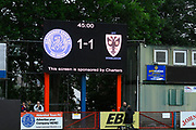 The Scoreboard at Aldershot during the Pre-Season Friendly match between Aldershot Town and AFC Wimbledon at the EBB Stadium, Aldershot, England on 28 July 2017. Photo by Graham Hunt.