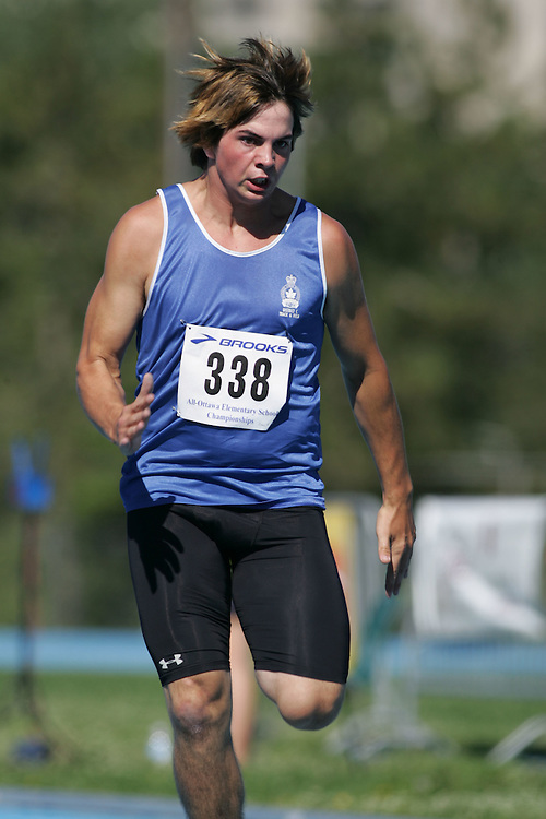 Drew Taylor competing in the 100m at the 2007 Ontario Legion Track and Field Championships. The event was held in Ottawa on July 20 and 21.
