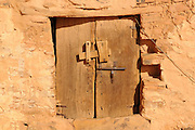 Old wooden door in the town of Chinguetti, world heritage sight,Western Africa, Mauritania, Africa