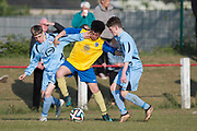 24/05/2017 - U16 Robert Caira Memorial Trophy Final  (sponsored by DSA)<br /> Morgan (light blue) v. Grove (yellow) at Whitton Park, Picture by David Young -