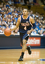 Virginia guard Calvin Baker (4) dribbles up court against Duke.  The Duke Blue Devils defeated the Virginia Cavaliers 87-65 in men's basketball at Cameron Indoor Stadium on the campus of Duke University in Durham, NC on January 13, 2008.