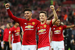 Marcos Rojo and Ander Herrera of Manchester United celebrate at full time  - Mandatory by-line: Matt McNulty/JMP - 26/02/2017 - FOOTBALL - Wembley Stadium - London, England - Manchester United v Southampton - EFL Cup Final