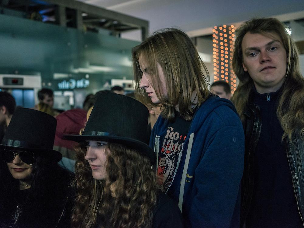 Fans wait to attend a concert by Slash at Prime Hall on Sunday, November 22, 2015 in Minsk, Belarus.