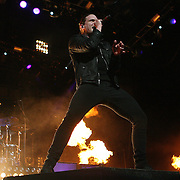 Brent Smith of the band Shinedown sings onstage at the Rockstar Energy Drink Festival at the 1-800-Ask-Gary amphitheater in Tampa, Florida on Thursday, September 13, 2012. (AP Photo/Alex Menendez)