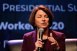 Democratic Presidential hopeful U.S. Sen. Amy Klobuchar speaks at the Philadelphia Council AFL-CIO Workers' Presidential Summit, at the Pennsylvania Convention Center in Philadelphia, PA, on September 17, 2019.