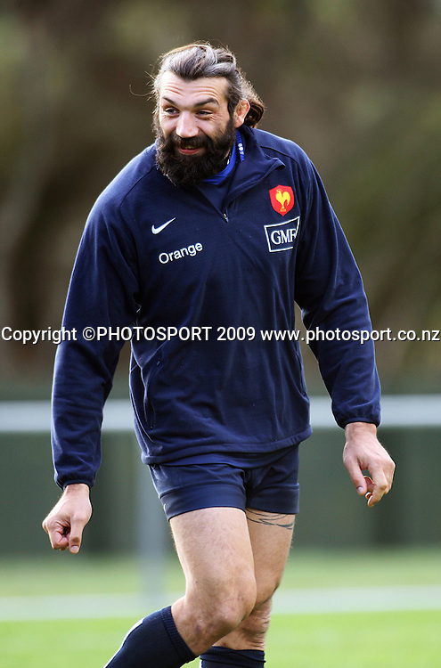 French lock Sebastien Chabal.<br /> France Training Session at Trusts Porirua Park, Porirua, Wellington. Wednesday 17 June 2009. Photo: Dave Lintott/PHOTOSPORT