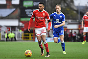 Swindon Town striker Keshi Anderson (30) on the attack 0-0 during the EFL Sky Bet League 2 match between Swindon Town and Chesterfield at the County Ground, Swindon, England on 11 November 2017. Photo by Alan Franklin.