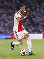 Noussair Mazraoui of Ajax during the UEFA Champions League second round qualifying first leg match between Ajax Amsterdam and Sturm Graz at the Johan Cruijff Arena on July 25, 2018 in Amsterdam, The Netherlands