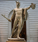 Perseus with the head of Medusa.  Marble.  Antonio Canova (1757-1822).  Born in Possagno, active in Venice and especially Rome;  this marble carved in Rome, 1804-6.